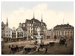 La place de marché de Bonn (ca 1890-ca 1900). Éditeur : Detroit Publishing Co. Source : Bibliothèque du Congrès américain – domaine public.
